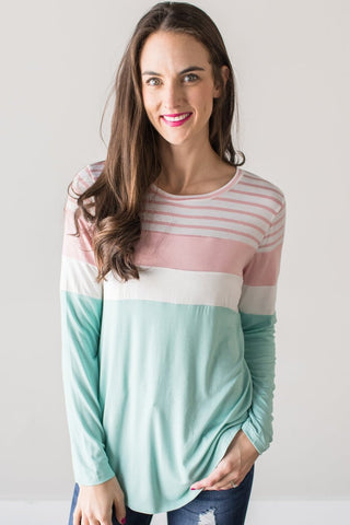 Eliza Long Sleeve Contrast Top