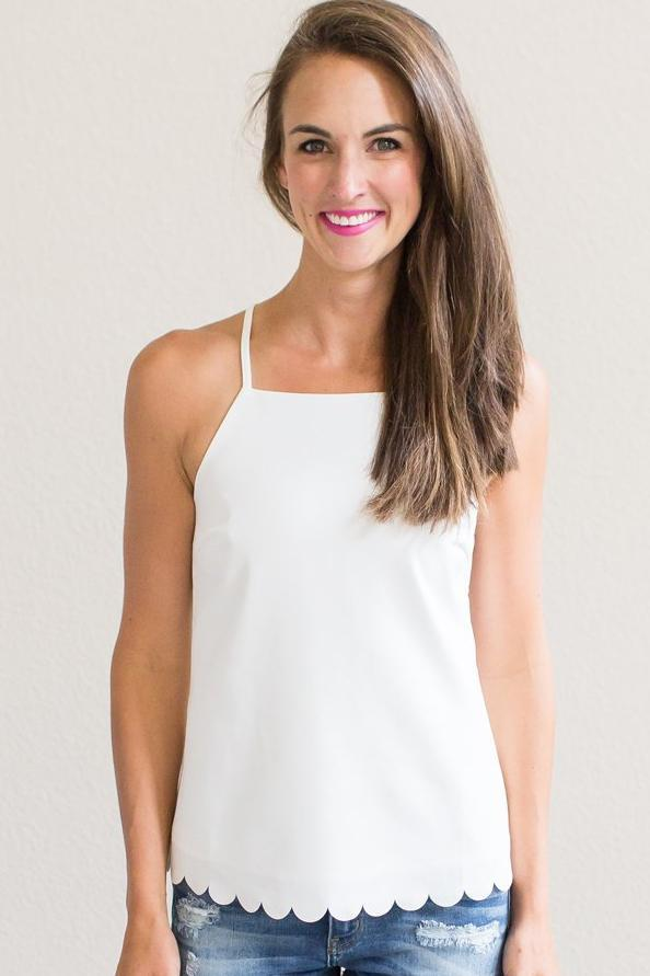 Z-Keri Ann Scallop Top