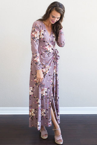 Deidre Floral Wrap Dress (black or mauve)