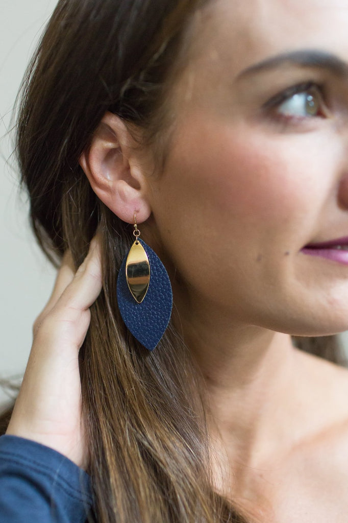 Z-Leather and Gold Leaf Earrings (Navy or Mauve)
