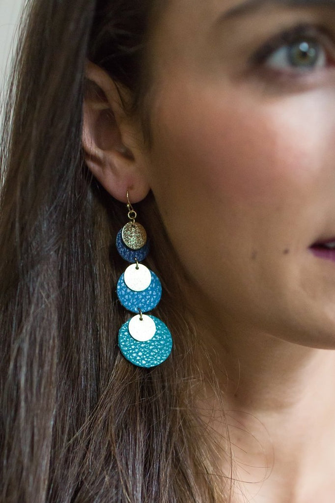 Z-Drop Leather Circle Earrings (Silver/Gold or Navy/Blue)