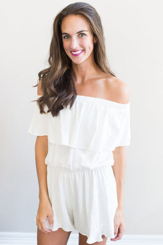 White Linen Off The Shoulder Romper