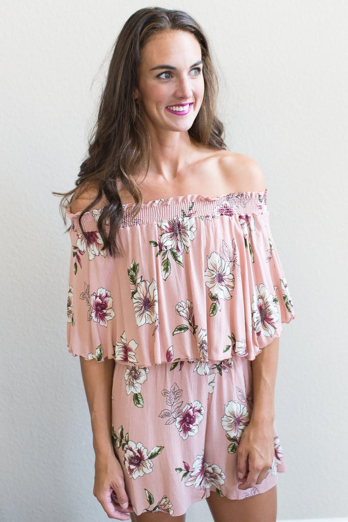 Z-Floral Smocked Off The Shoulder Romper