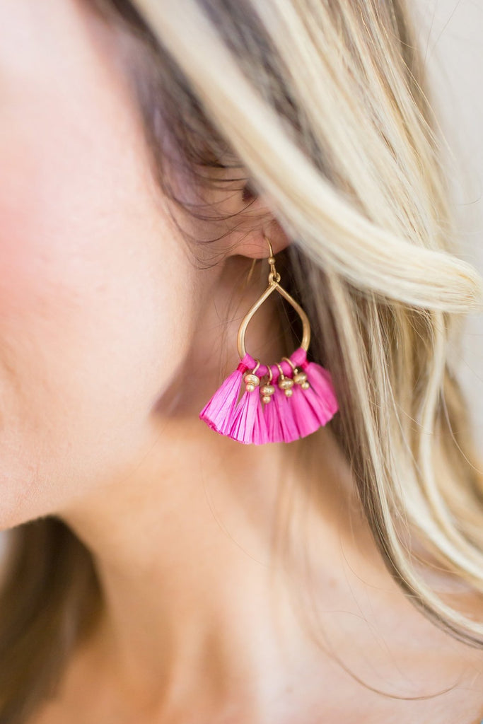 Gold Tassel Fan Earrings (Pink or Black)