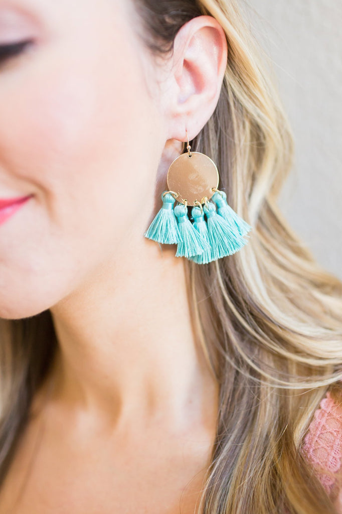 Gold Coin Turquoise Tassel Earrings
