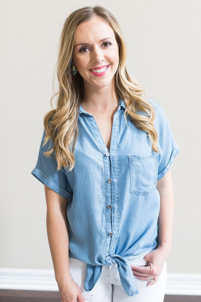 Evelyn Denim Top
