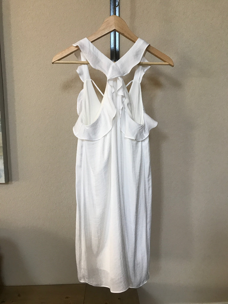 Criss Cross Ruffle Neck Dress - Off White