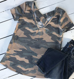 camo v neck for women