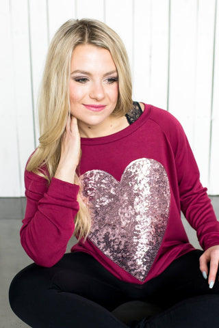 Sequin Heart Top (black or burgundy)