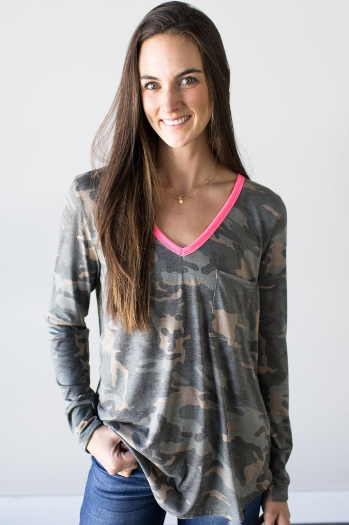 Addison Long Sleeve Camo Top