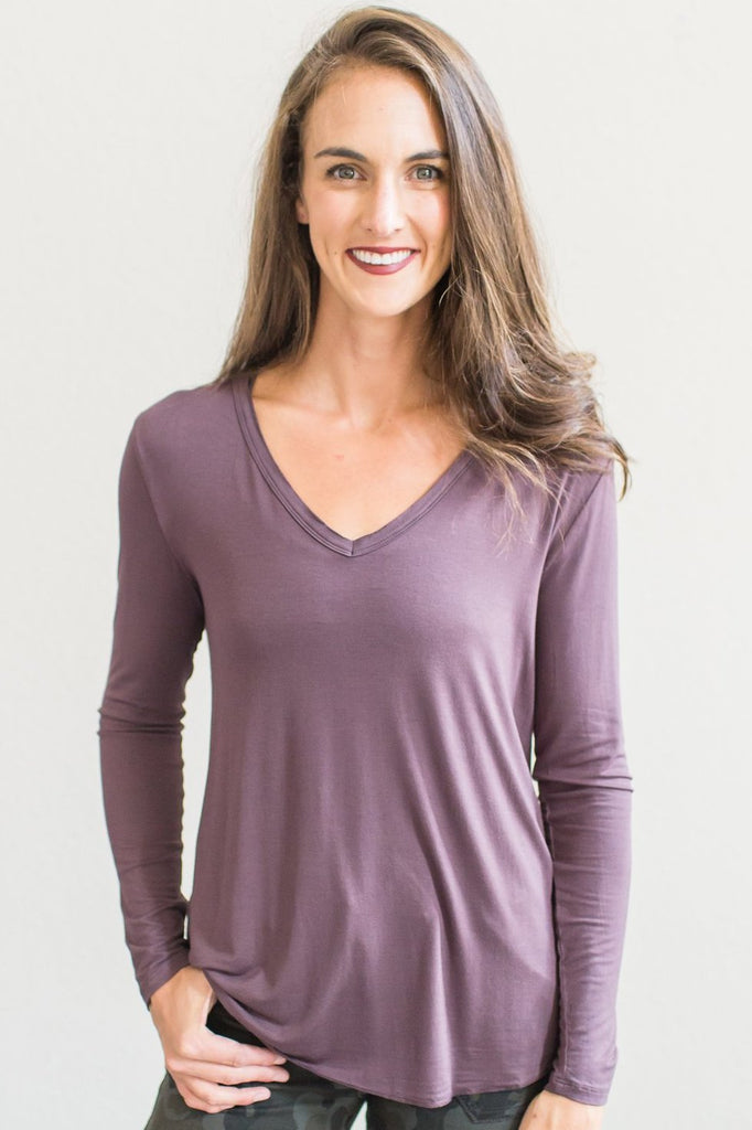 Madelynn V Neck Top (Plum Brown, Off White or Marsala)