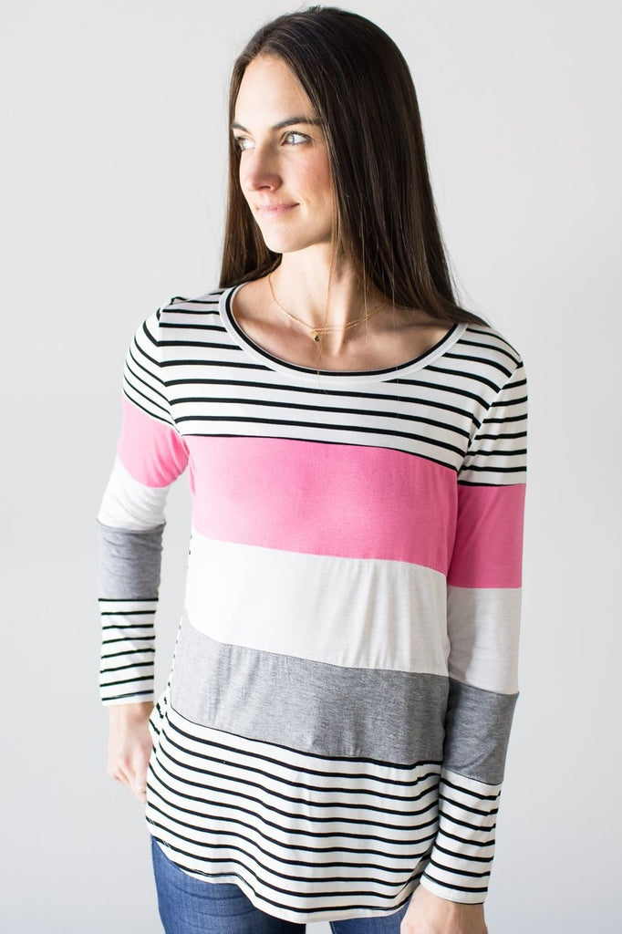 Khloe Color Block Long Sleeve Top