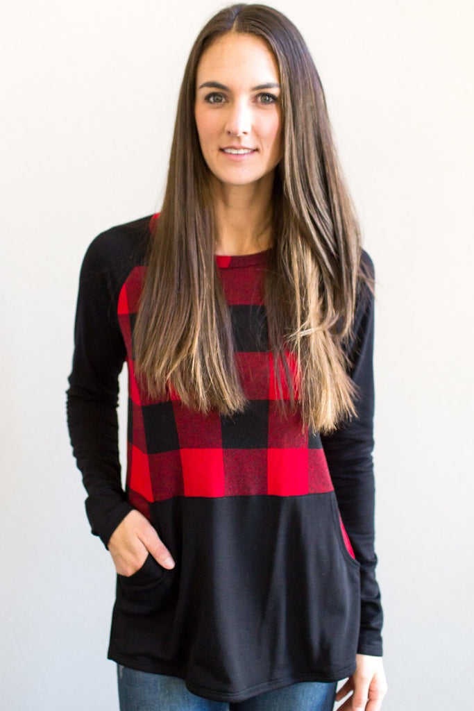 Z-Ruby Plaid Contrast Top