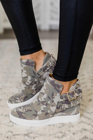 Gracie Camo Wedged Sneaker