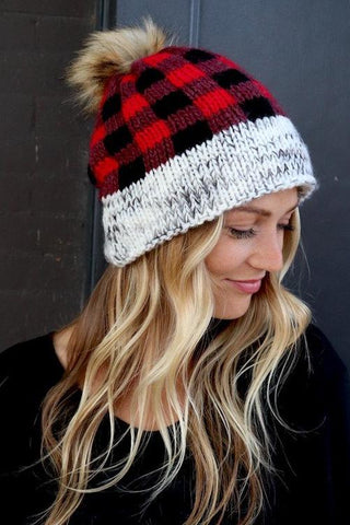 Bailey Plaid Beanie (red or blue)