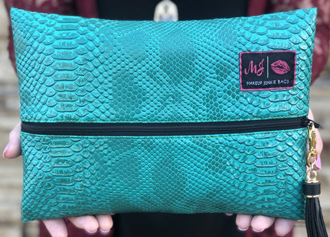 Makeup Junkie Bag - Turquoise Cobra