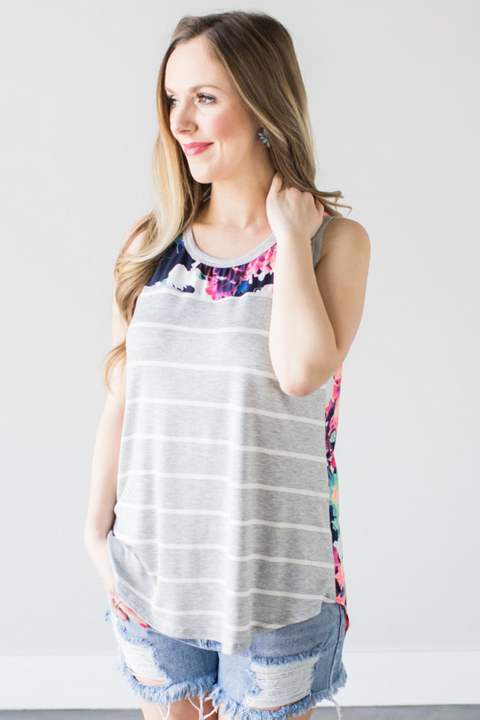 Rainie Floral Contrast Tank in Heather Grey