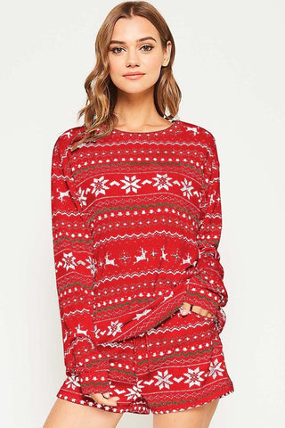 Z-Let It Snow Pajama Set (red or off-white)