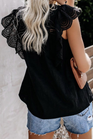 Bella Flutter Sleeve Top (black)