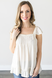 Makayla Ruffle Top - Coral, Ivory or Black