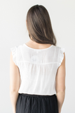 Nella Ruffle Sleeve Top - Yellow, White or Blue
