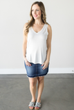 Z-Ava V-Neck Tank Top - Black, Charcoal, Off White or Taupe