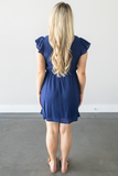 Everly Short Sleeve Dress - Navy, Rose or Ivory