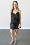 Venetian Black Sleeveless Romper