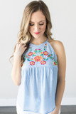 Scotlin Embroidered Halter Top - Blue or Black