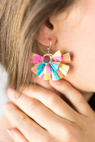 Tahiti Tassel Earrings (multi, pink, blue)