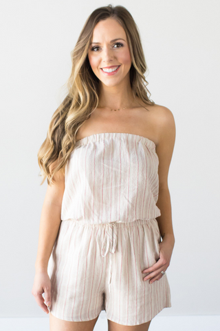 Carin Striped Strapless Romper