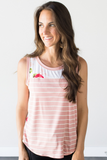 Z-Amelia Floral Contrast Tank - Blush or Charcoal