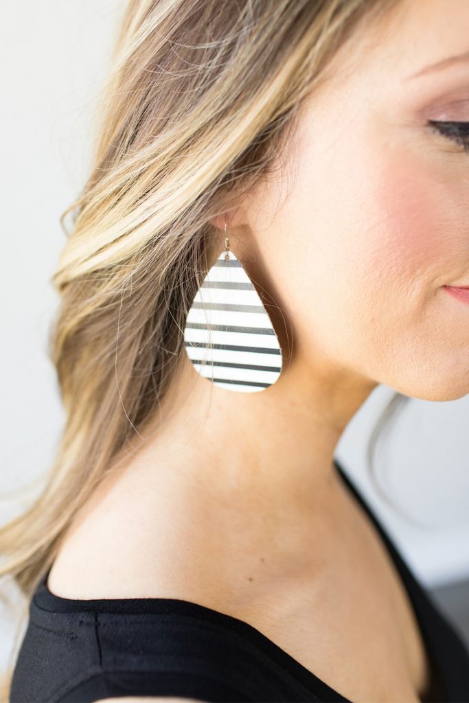 Nickel & Twine Striped Leather Earrings