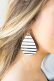 Z-Nickel & Twine Striped Leather Earrings