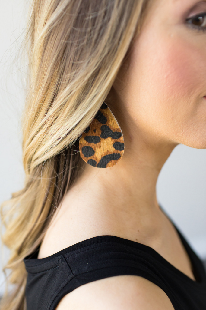 Nickel & Twine Leopard Leather Earrings