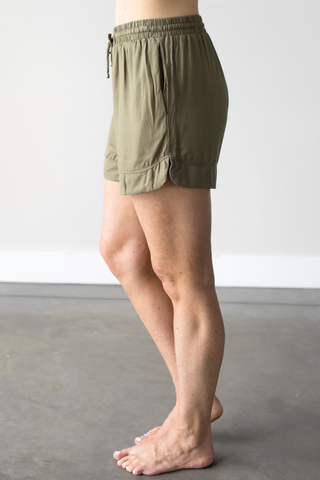 Alexa Drawstring Shorts in Olive