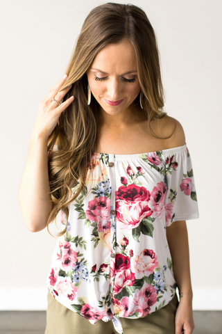 Krissy Floral Off The Shoulder Top
