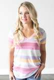Z-Jess Striped V-Neck Tee