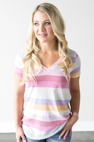 Jess Striped V-Neck Tee