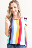 Regan Striped Ruffle Top