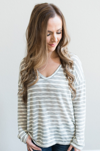 Finn Striped V-Neck Top