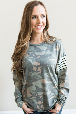 Maci Color Block Camo Top