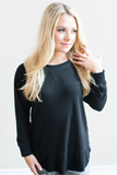 Kyra Pull-Over Knit Tunic in Black