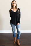 Z-Luca V-Neck Top in Black