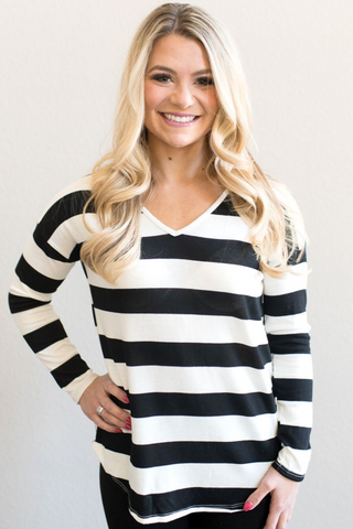 Ella V-Neck Striped Top
