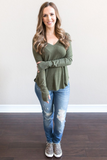 Z - Jordynn Ribbed V-Neck Top - Olive
