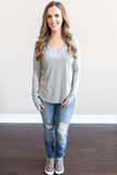 Z - Jordynn Ribbed V-Neck Top - Heather Grey