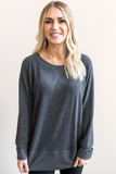 Z-Kyra Pull-Over Knit Tunic in Charcoal