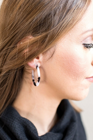 Tortoise Hoop Earrings - Brown or White
