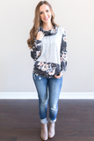 Z - Sammi Mixed Print Cowl Neck Top